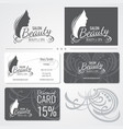 beauty salon business card templates with vector image
