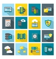 Colored Square Datacenter Icon Set vector image