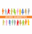 20 kids children silhouettes various design vector image