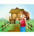 A woman in front of the nipa hut in the farm vector image vector image