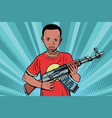 african boy with akm automatic weapons vector image vector image