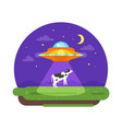 alien ship truing to abduct a cow at night vector image vector image