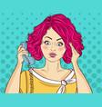 angry pop art woman chatting on retro phone comic vector image vector image