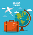 around the world globe world plane suitcase sky vector image vector image