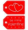be mine valentine heart circle red tag set vector image vector image