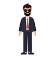 bearded man wearing suit vector image