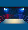 boxing ring arena and spotlight floodlights vector image vector image