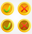 Bright check and cross buttons in yellow circles vector image