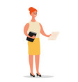 businesswoman is standing with a folder and vector image vector image