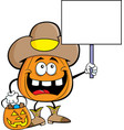 cartoon pumpkin dressed as a cowboy holding a sign vector image vector image
