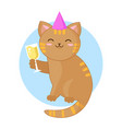 cat celebrating with glass of champagne vector image