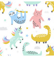 childish seamless pattern with cute cat sloth vector image