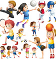 children doing different kind sports vector image vector image