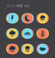 climate icons set with winter night thermometer vector image vector image