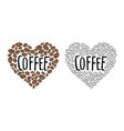 coffee beans composition heart shaped vintage vector image vector image
