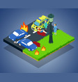 crash concept banner isometric style vector image