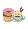 delicious sweet donuts with chocolate mug kawaii vector image