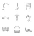 farm tool icon set outline style vector image vector image