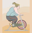 fat woman training vector image vector image