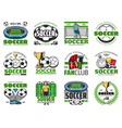 football winner cup and soccer ball emblem design vector image