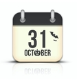 Halloween calendar icon with reflection 31 October vector image vector image