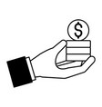 hand holding stacked dollar coins vector image vector image