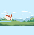 landscape with medieval castle flat vector image