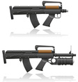 machine gun with a short barrel and grenade vector image vector image