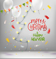 merry christmas and happy new year wishes card vector image