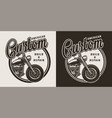 monochrome custom motorcycle round label vector image vector image
