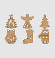 new years set in a wooden style ornaments for yo vector image