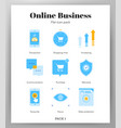 online business icons flat pack vector image