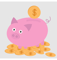 Piggy bank on the dollar coins Card vector image