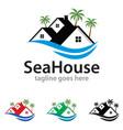 sea house logo template design vector image