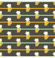 Seamless pattern orange glass beer mug on a brown vector image vector image