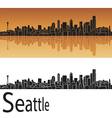 Seattle skyline in orange background vector | Price: 1 Credit (USD $1)