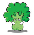 serious broccoli chracter cartoon style vector image vector image