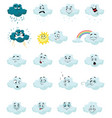 set cartoon clouds with emotions collection vector image