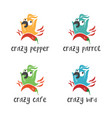 set cartoon crazy bird with pepper vector image