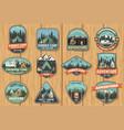 set summer camp badges on wood board vector image vector image