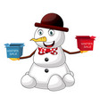 snowman winter sale on white background vector image vector image
