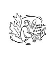 some person sits at home and works on laptop vector image vector image