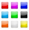 square glass buttons colored set 3d icons vector image