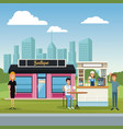 stores at city scenery vector image vector image