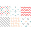 tile pattern set with pastel print on white vector image vector image