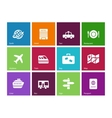 Travel icons on color background vector image vector image