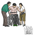 Two people helping handicapped man