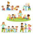 teacher explaining alphabet to children around her vector image