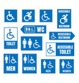 accessible toilet sign restroom signs vector image vector image