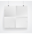 Blank paper poster on white wall vector image vector image